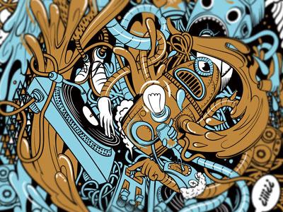 Illustration for BigShock! textil design drawing illustration