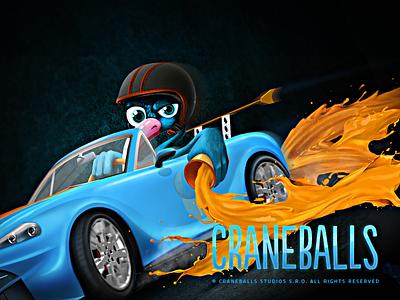 Craneballs character bird racing collor game crane car