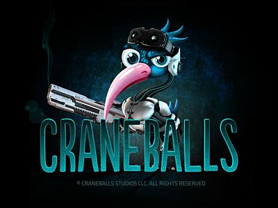 Craneballs fun armor crane sci-fi guns bird