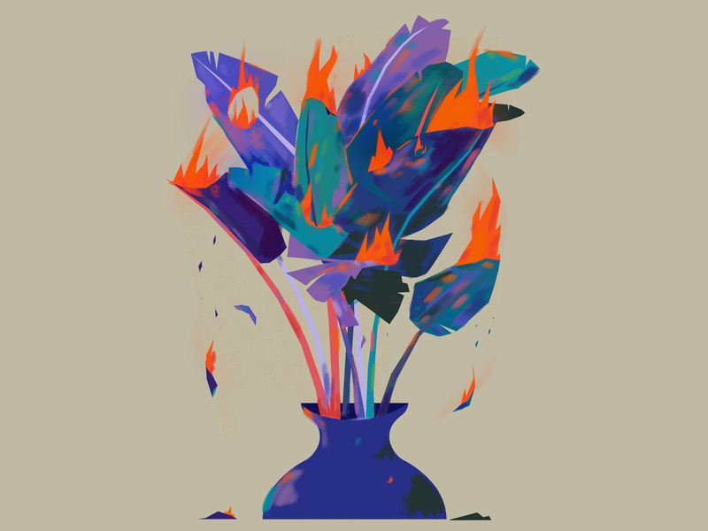 Global warming globalwarming illustration vase fire burn plants