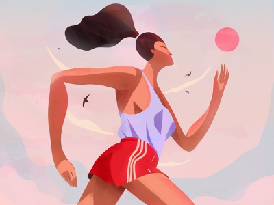 Runner's high ❤️💜 adidas characterdesign illustration clouds red purple sun sky birds jogging running girl