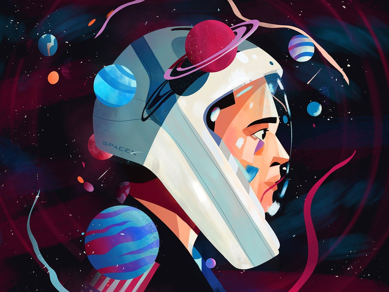 Elon Musk 🚀 stars engineer investor businessmagnet tesla elonmusk helmet planets nasa spacex space characterdesign illustration