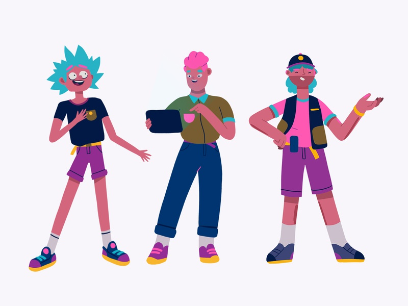 Character study exploration pink purple lineup characterstudy illustration characterdesign