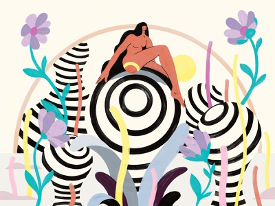 Free your mind utopia art 2d arc sun flowers girl characterdesign illustration