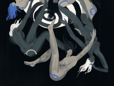 Dystopia falling blue stripes women lips dystopia characterdesign illustration