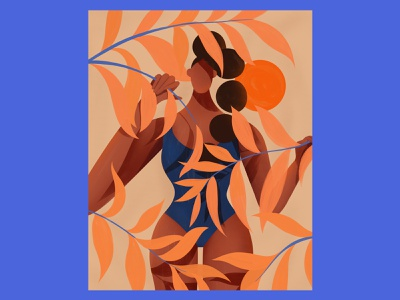 Lookout🟠🌞👀 braid blue orange sun sunny mood plants leaves sunset girl illustration