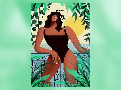 Gooodmorninggg 🌞🌿🌊 view sea plants ocean girl sun characterdesign character illustration
