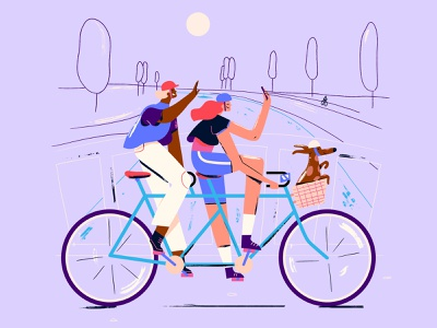 Sunday's be like characterdesign sunday bike tandem bike tandem dog illustration