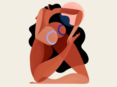 Tension🍑 stretching tension sun woman illustration