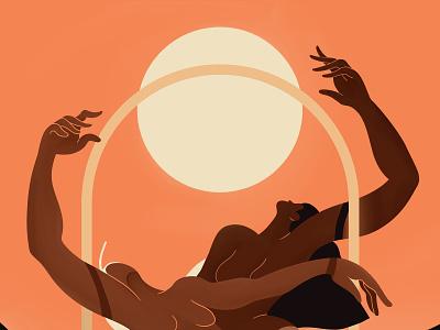 Golden Hour 🌞 dance women arc mountains orange warm sun sunset goldenhour characterdesign illustration