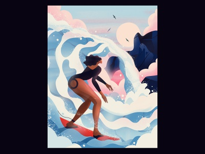 Catching waves 🤙 clouds sunset girl surfing birds waves ocean illustration