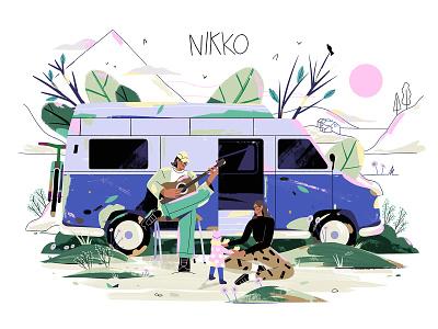 Welcome Nikko music guitar birds clouds water houses baby bike sun trees hills mountains van characterdesign illustration birthcard