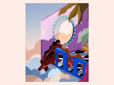 Thoughts from a balcony sun clouds dream architecture women characterdesign illustration