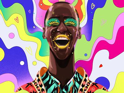 Don't hide your magic🌈✨ smile happy design ncuti gatwa netflix sexeducation portrait illustration