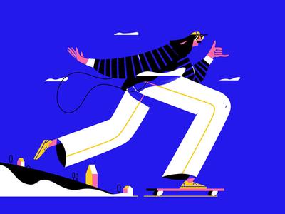 Going through the week like illustration characterdesign city die or skate skater