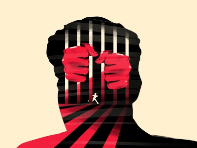 Locked up run jail hands characterdesign illustration