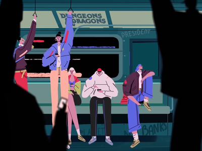 Monday commute anarachy train motiondesign motion animation characterdesign illustration