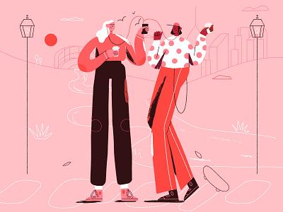Social Hour fall edition coffee music listening characterdesign illustration