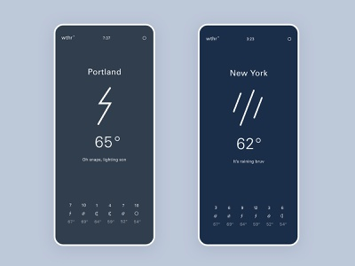 wthr app - rain and storms api weather mobile ui simple minimal mobile app