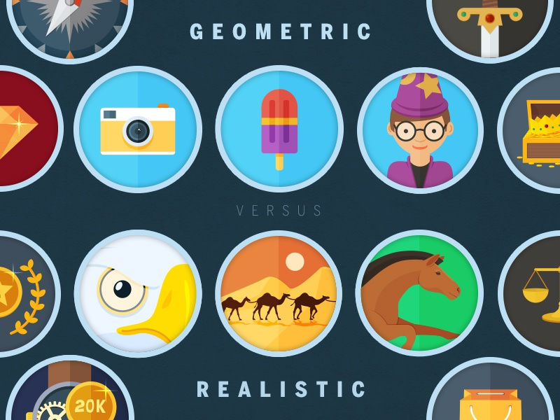 Geometric vs Realistic approaches in Icon design icon badge flat circle camera horse icecream wizard eagle sword chest camel