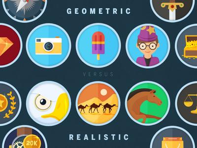 Geometric vs Realistic approaches in Icon design