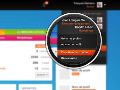 Exponentiel - Account menu magnifying glass retina social network reseau pro art arts tools dashboard ui ux user interface design website web