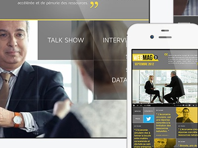 Responsive Webmag responsive web mag webmag grid system metro windows 8 iphone mockup talk show french
