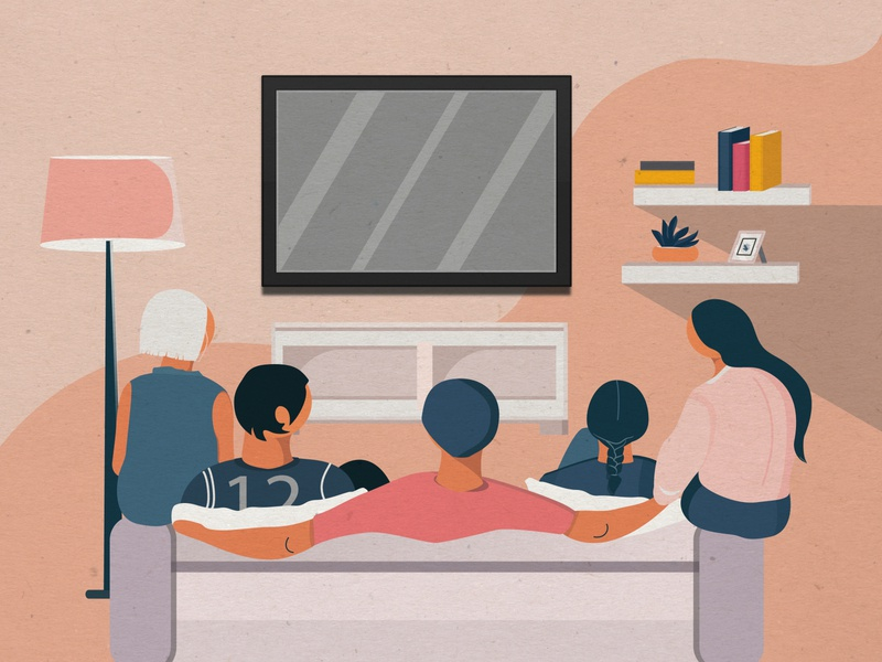 watching tv people tv watching colour illustration