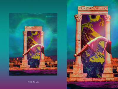 Portals collage trippy mountain abduction levitate clouds surreal antique aura pillars mithology eye portal