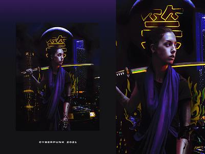 Cyberpunk 2021 neon light lights buildings katana collage neon night city scifi cyberpunk2077 cyberpunk