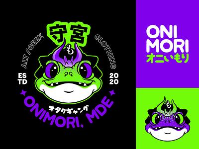 Onimori logo japanese branding mde oni yokai gecko frog toad geek brand