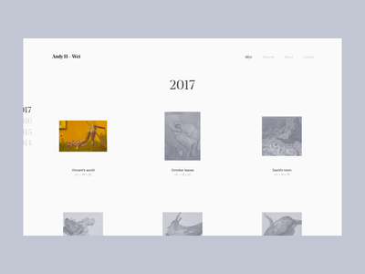 Gallery page — Andy H. Wei website web design web ux ui typography portfolio painting painter gallery design artist art direction art
