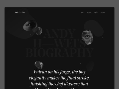 About page - Andy H. Wei web ui typography layout about webdesign website portfolio painting painter artist art direction art