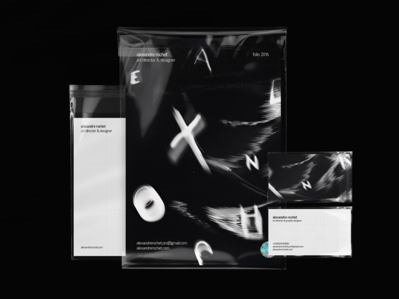 Alexandre Rochet Identity 2016 stationery white typography typeface stationery design stationery portfolio letters letter identity distortion distorted deformation business cards branding design branding brand identity brand black and white black