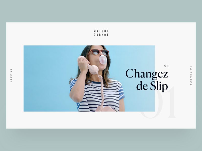 Home page - Maison Carnot production house agency website typography typeface portfolio website layout web design web ux design ux ui design ui layout interface design interface graphic design design art direction