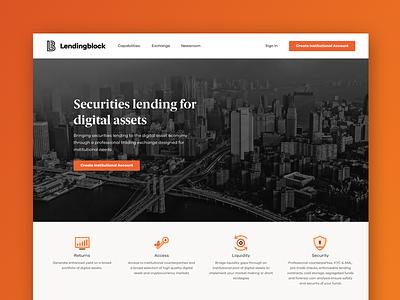 Lendingblock - Marketing Website home landing page security orange brand guidelines branding identity cryptocurrency crypto studio brand digital design website marketing