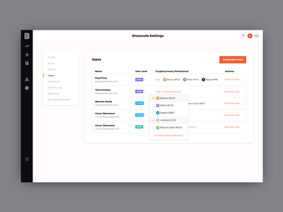 Lendingblock - Trading Platform product design website ux ui menu navigation sidebar dashboard profile users settings branding studio cryptocurrency crypto