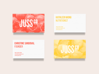 Juss Co - Business Cards identity design brand guidelines design identity fruit fresh collateral cards business cards logo branding brand