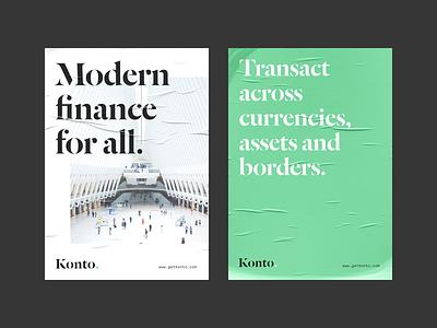 Konto - Posters branding design logo identity branding identity design poster art poster design modern agency studio brand fintech finance crypto cryptocurrency poster