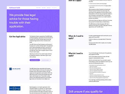 Settlement Guide - Web App sonntag sketch purple charity identity application website web app app ui design brand