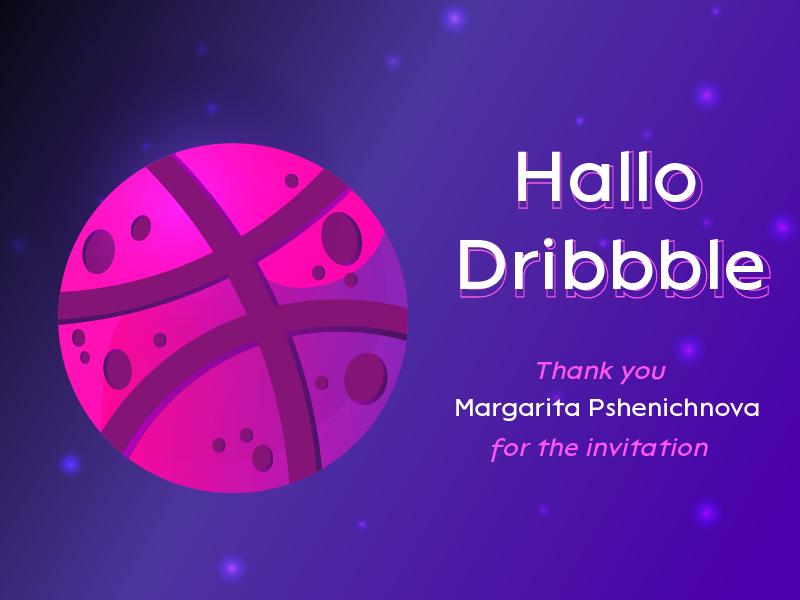 Hallo dribbble! planet thank you illustration design