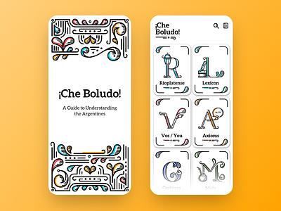¡Che Boludo! - Guide to Understanding Argentines app design argentina dictionary vector ux ui illustration app design