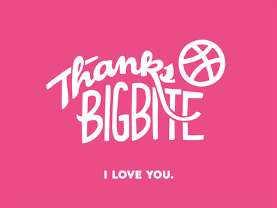 Thanks Big Bite Creative :) lettering debut thanks invite basketball flat typography dribbble