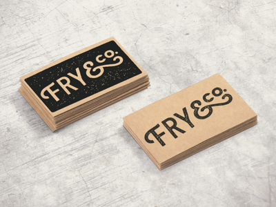 Fry & Co Stamped Business Cards salty ampersand ink stamp vintage business cards logo screen print