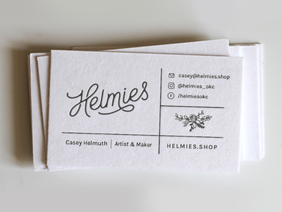 Helmies - A Christmas Gift hand lettered type mockup letterpress business card modern minimal grid floral line logo gifts christmas