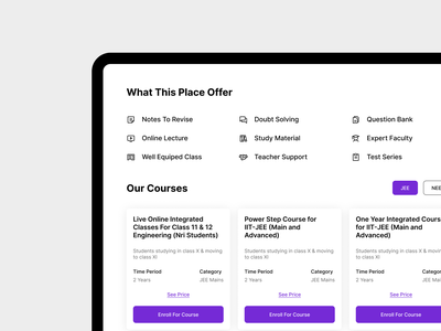 Courses Service and Features 🙌🙌 typography ux illustration ui app website design