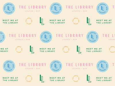 library pattern library badge pattern lounge identity logo design branding typography type design