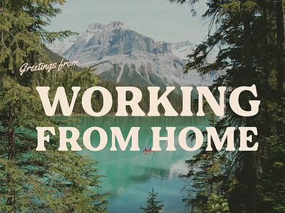 wfh postcard design mountains wfh grain retro postcard typography type