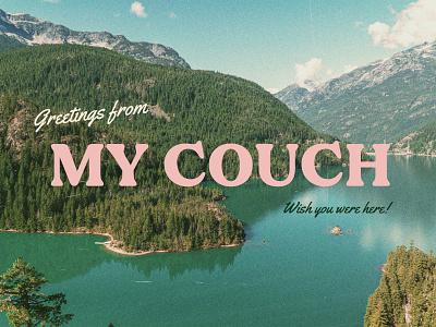 greetings mountains texture quarantine vintage postcard typography type design