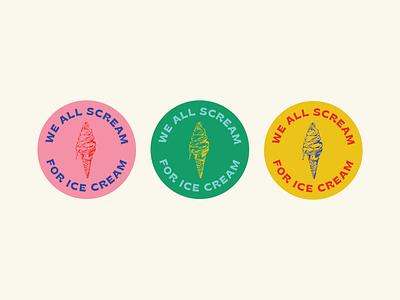 ice cream badges illustration ice cream badges type branding design